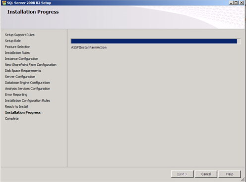 PowerPivot for SharePoint intallation progress
